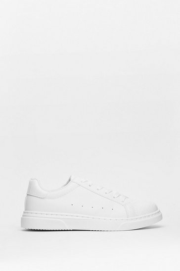 White Croc Embossed Faux Leather Flat Trainers
