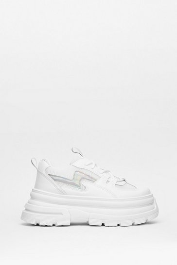 White Walk On Over Faux Leather Platform Sneakers