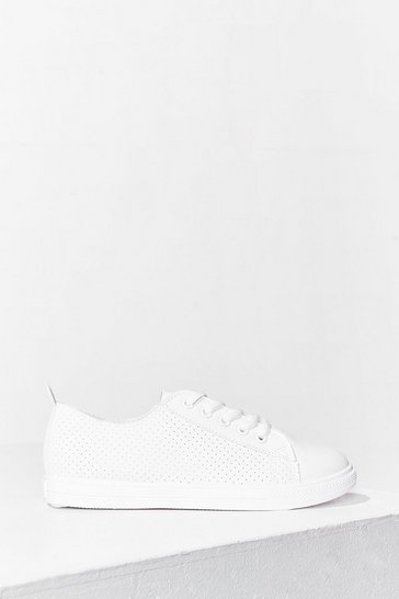 White We'll Never Tell a Sole Faux Leather Trainers