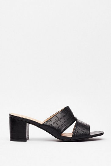 Black Mule Do Babe Croc Heeled Sandals