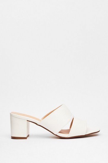 White Mule Do Babe Croc Heeled Sandals