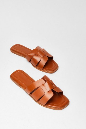 Tan Link On Your Feet Faux Leather Sandals