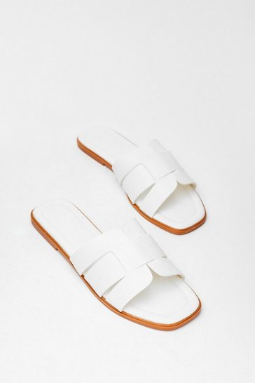 White Link On Your Feet Faux Leather Sandals