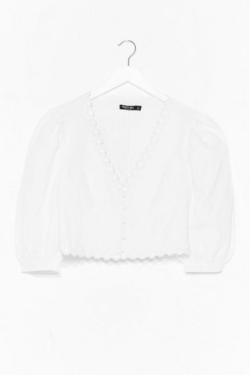 White Daisy Nights Puff Sleeve Crop Top