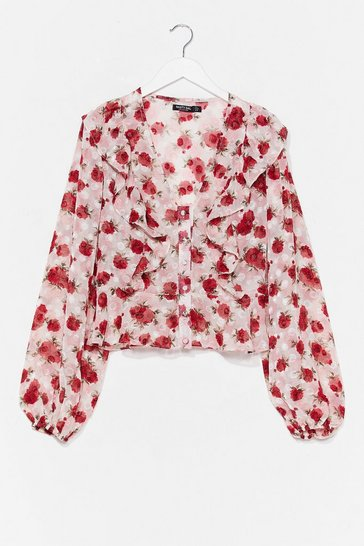 White Came Up Roses Floral Ruffle Blouse