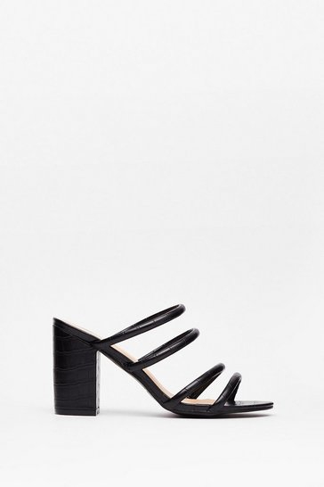 Black Strappy for You Faux Leather Block Heel Sandals