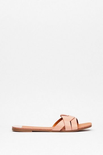 Pink Croc This Time Faux Leather Flat Sandals
