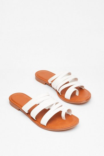 White From Head to Toe Flat Strappy Sandals