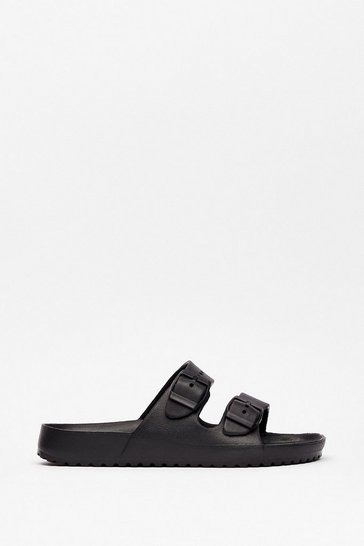 Black Faux Leather Duo Buckle Strap Sandals