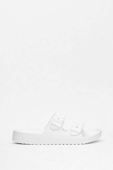 White Faux Leather Duo Buckle Strap Sandals