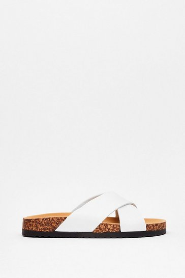 White Cross Your Heart Faux Leather Sandals