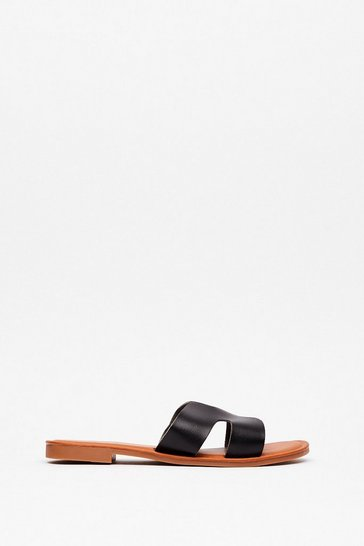 Black Cut It Out Faux Leather Flat Sandals