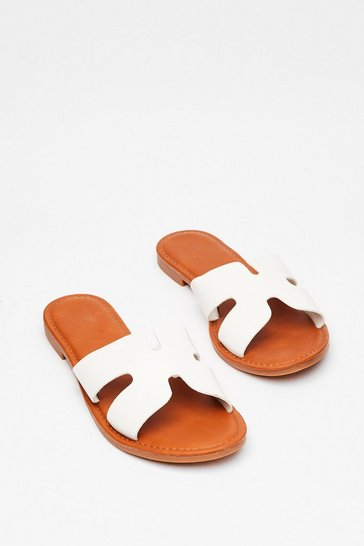 White Cut It Out Faux Leather Flat Sandals