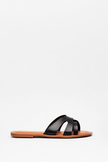 Black Slip of the Lip Faux Leather Flat Sandals