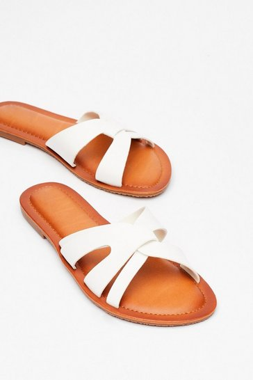White Slip of the Lip Faux Leather Flat Sandals