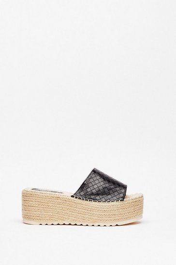 Black Raise Your Hands Woven Platform Sandals