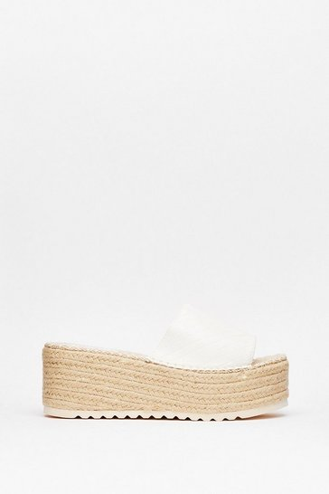 White We've Woven You Croc Espradrille Wedges
