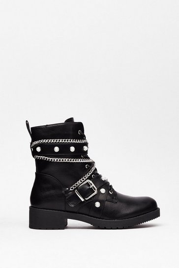 Black Who's That Pearl Faux Leather Biker Boots