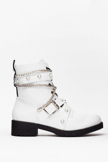 White Who's That Pearl Faux Leather Biker Boots