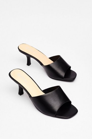 Black Mule See Faux Leather Kitten Heels