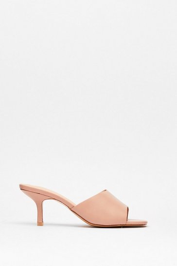 Pink Mule See Faux Leather Kitten Heels