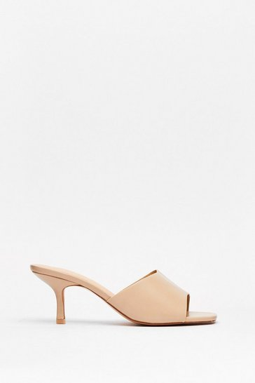 Beige Mule See Faux Leather Kitten Heels