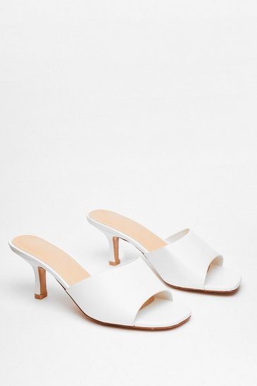 White Mule See Faux Leather Kitten Heels