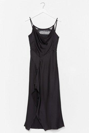 Black Give Us a Cowl Neck Satin Midi Dress