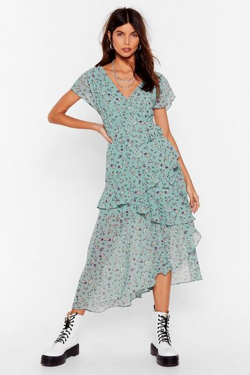 Green  Floral Layered Midaxi Dress