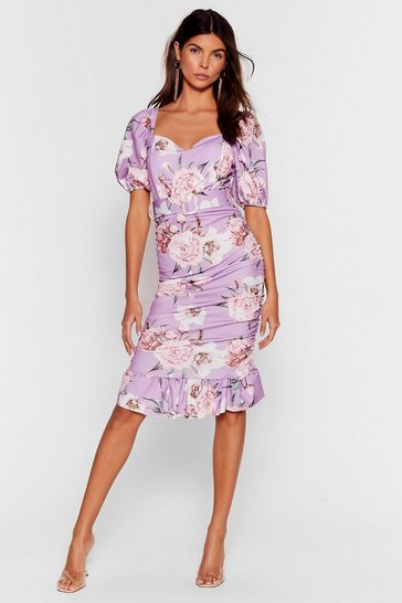 Lilac Stalk This Way Floral Midi Dress