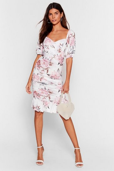 White Stalk This Way Floral Midi Dress
