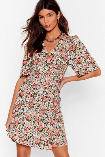 Pink  Floral Print Mini Tea Dress