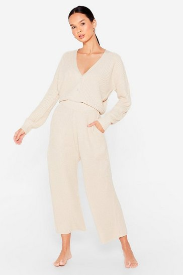Oatmeal Let Knit Snow Cropped Cardigan and Wide-Leg Pant Set