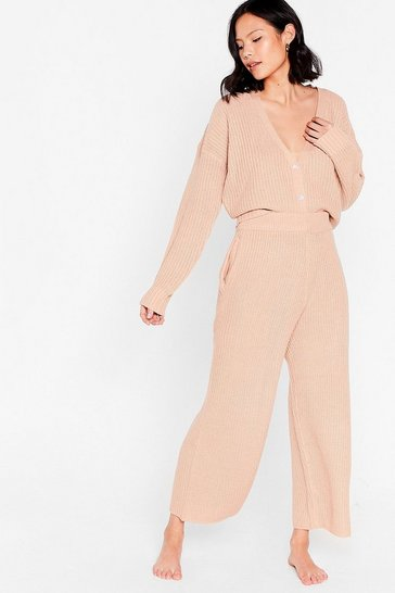 Rose Let Knit Snow Cropped Cardigan and Wide-Leg Pant Set