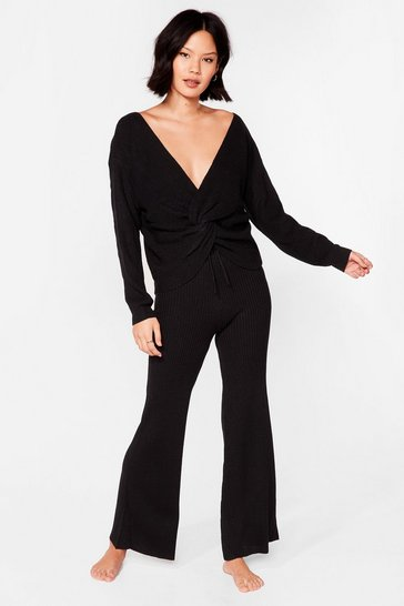 Black Twisted Knit Top and Wide Leg Pants Set