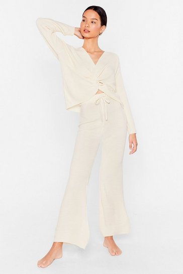 Oatmeal Twist the Truth Knit Wide-Leg Pants Lounge Set