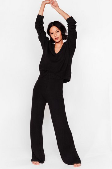 Black Knit V Neck Jumper and Trousers Loungewear Set