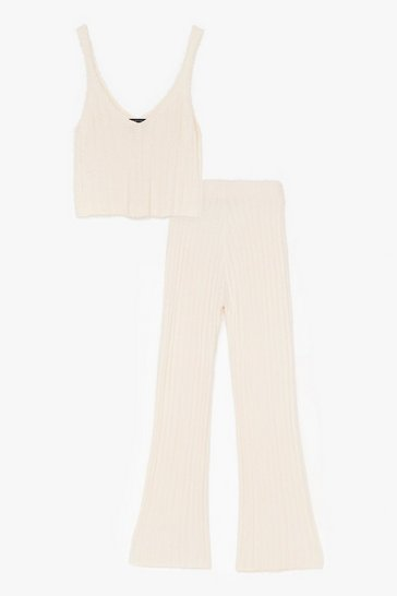 Cream Fluffy Rib Knitted Vest + Wide Leg Lounge Set