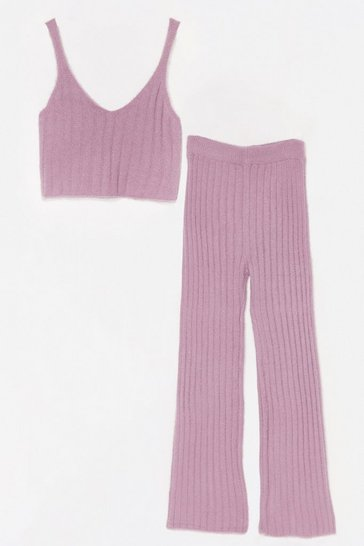 Lilac Fluffy Rib Knitted Vest + Wide Leg Lounge Set