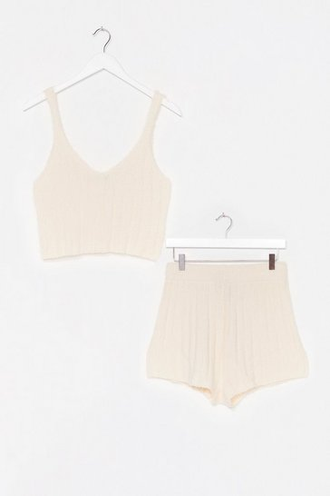 Cream Just the Two of Us Knit Top and Shorts Lounge Set