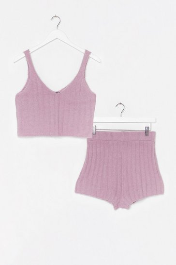 Lilac Just the Two of Us Knit Top and Shorts Lounge Set