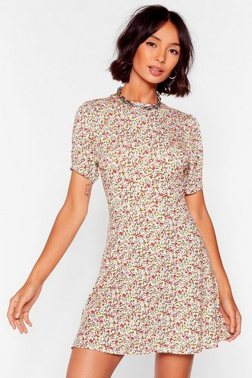 White All We Grow Floral Mini Dress