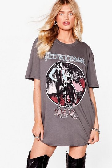 Black Fleetwood Mac Graphic Band T-Shirt Dress