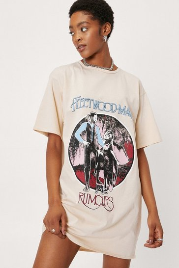 Natural Fleetwood Mac Graphic Band T-Shirt Dress