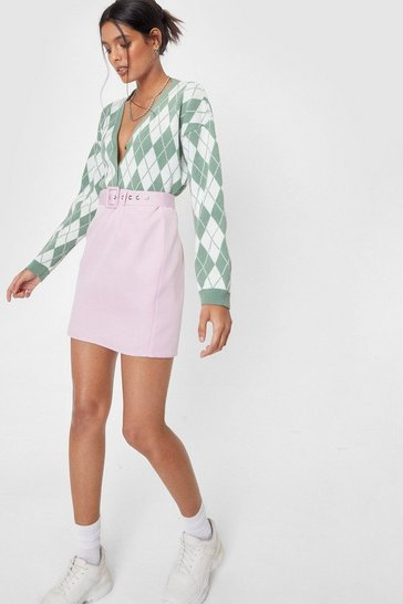 Lilac The Love That I Belt Mini Skirt