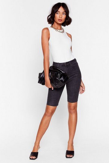 Washed black It Won't Be Long Denim Biker Shorts