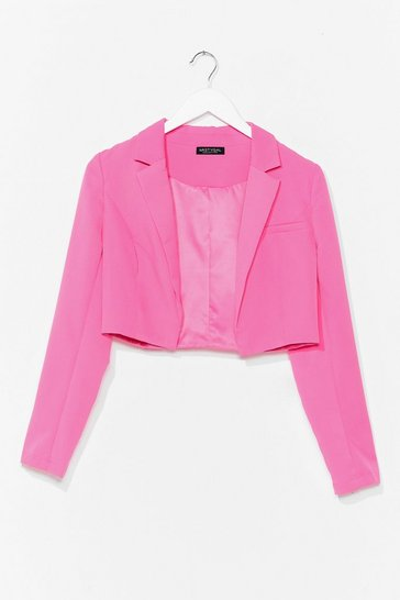 Pink This Means Business Cropped Tailored Blazer