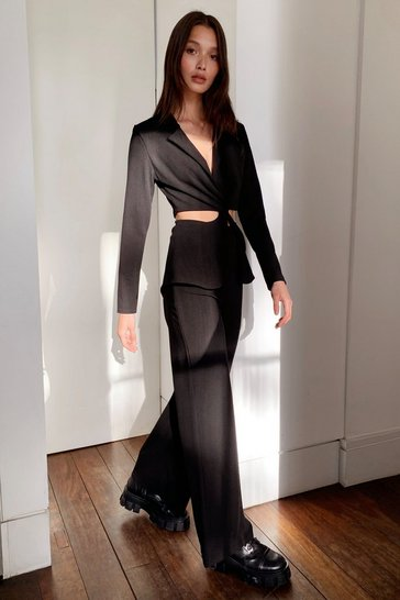 Black Relaxed Elastic Waist Wide Leg Trousers