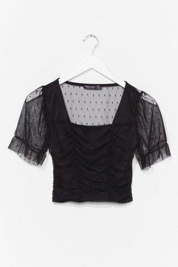 Black Sheer Sheer Square Neck Crop Top