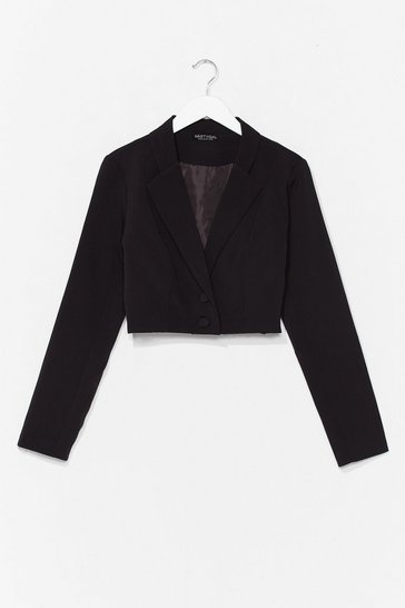 Black This Means Business Cropped Tailored Blazer